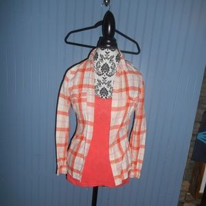 Orange Tank top with Orange and White Button up